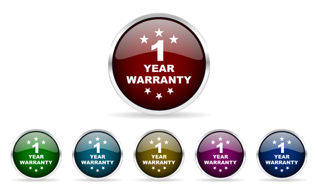best security: warranty guarantee 1 year colorful glossy circle web icons set