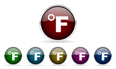 fahrenheit: fahrenheit colorful glossy circle web icons set Stock Photo