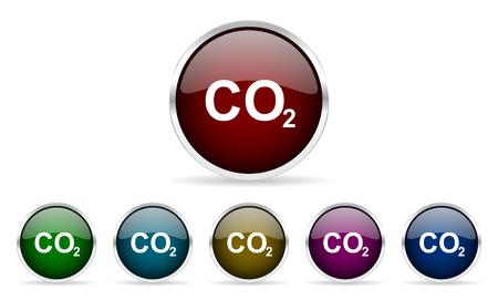 dioxido de carbono: coloridos iconos de la web de círculo brillante de dióxido de carbono fijados Foto de archivo