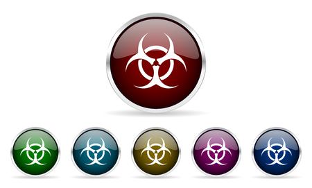 riesgo biologico: biohazard coloridos iconos de la web de círculo brillante establecidos Foto de archivo