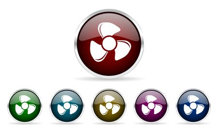 airflow: fan colorful glossy circle web icons set Stock Photo