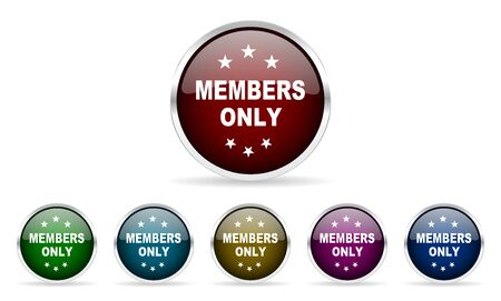 members only: members only colorful glossy circle web icons set Stock Photo