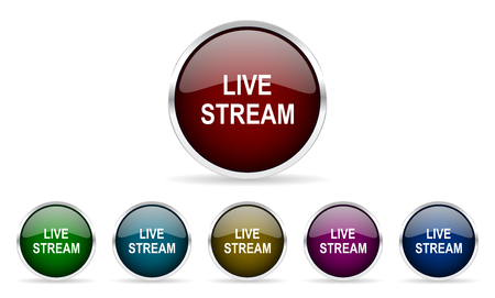 live stream tv: live stream colorful glossy circle web icons set