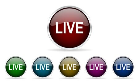 web cast: live colorful glossy circle web icons set Stock Photo