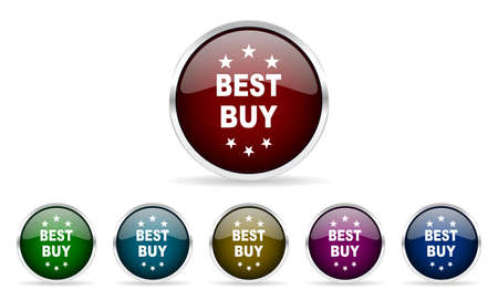 best buy: best buy colorful glossy circle web icons set Stock Photo