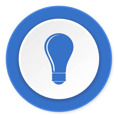 lighting button: bulb blue circle 3d modern design flat icon on white background