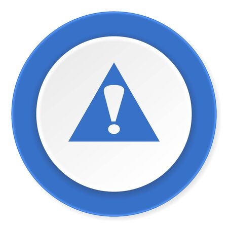 exclamation icon: exclamation sign blue circle 3d modern design flat icon on white background
