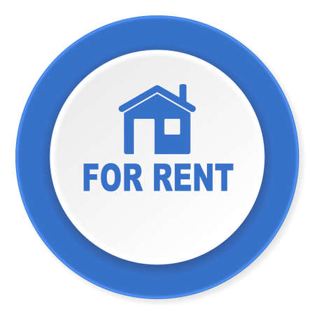 for rental: for rent blue circle 3d modern design flat icon on white background Stock Photo