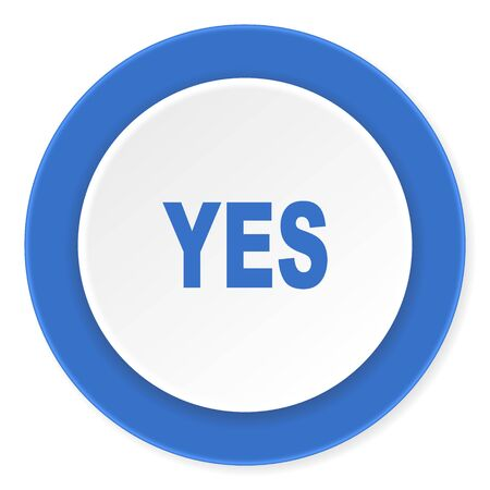 proceed: yes blue circle 3d modern design flat icon on white background Stock Photo