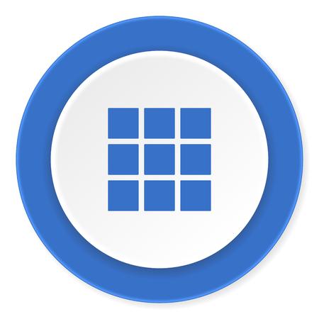 thumbnails: thumbnails grid blue circle 3d modern design flat icon on white background Stock Photo