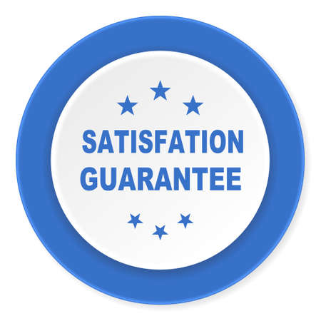 satisfaction guarantee: satisfaction guarantee blue circle 3d modern design flat icon on white background