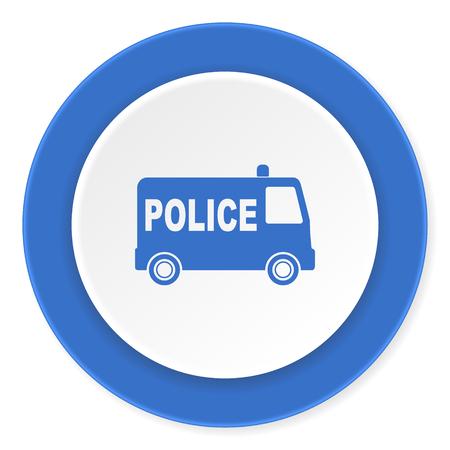 highway patrol: police blue circle 3d modern design flat icon on white background