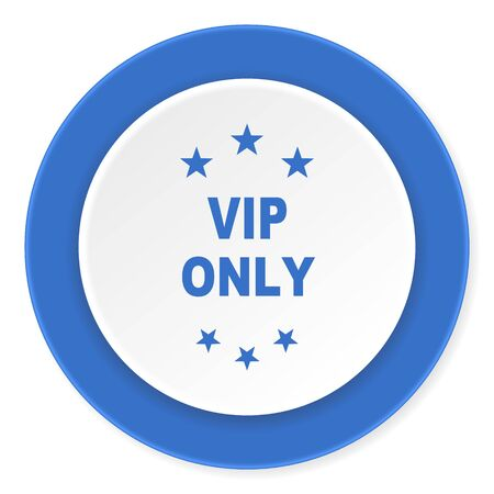 private party: vip only blue circle 3d modern design flat icon on white background