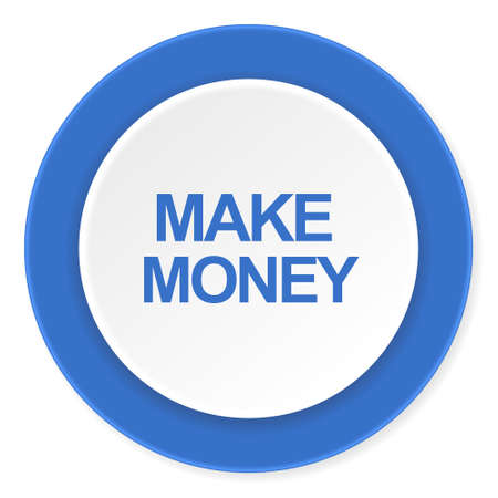 make money: make money blue circle 3d modern design flat icon on white background
