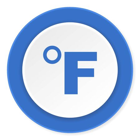 celcius: fahrenheit blue circle 3d modern design flat icon on white background Stock Photo