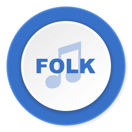 folk music: folk music blue circle 3d modern design flat icon on white background