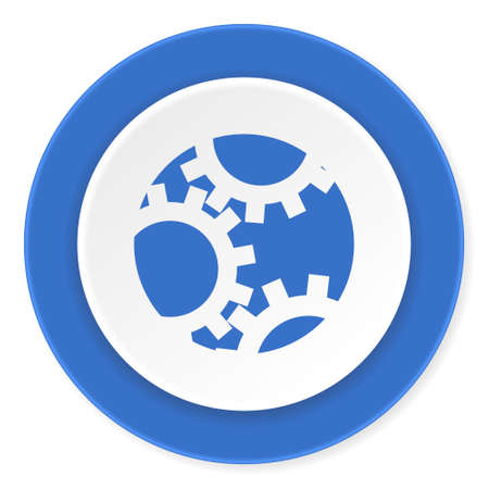 instrumentation: gear blue circle 3d modern design flat icon on white background
