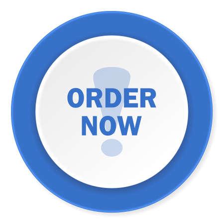 order now: order now blue circle 3d modern design flat icon on white background Stock Photo