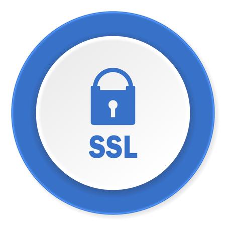 ssl: ssl blue circle 3d modern design flat icon on white background