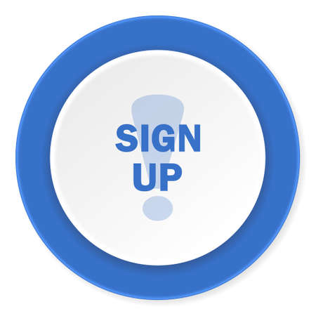 subscribing: sign up blue circle 3d modern design flat icon on white background