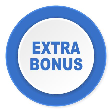 discounting: extra bonus blue circle 3d modern design flat icon on white background