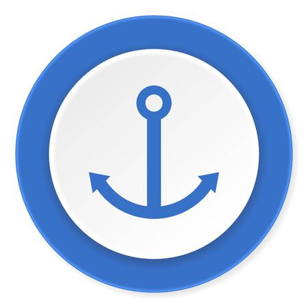 quay: anchor blue circle 3d modern design flat icon on white background