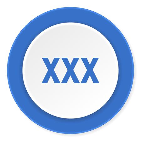 prostitute: xxx blue circle 3d modern design flat icon on white background Stock Photo