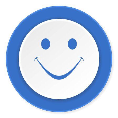 smile icon: smile blue circle 3d modern design flat icon on white background Stock Photo