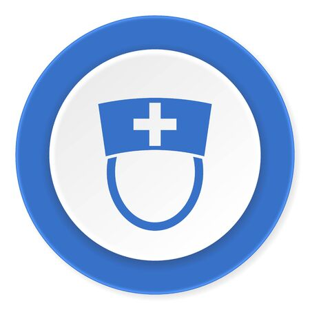 3d nurse: nurse blue circle 3d modern design flat icon on white background Stock Photo