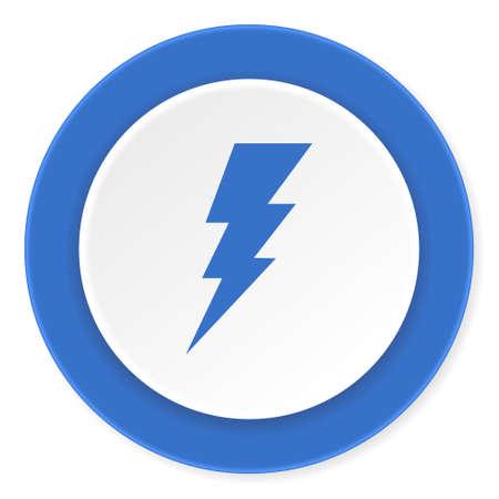 amperage: bolt blue circle 3d modern design flat icon on white background Stock Photo