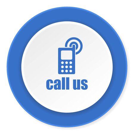 call us: call us blue circle 3d modern design flat icon on white background