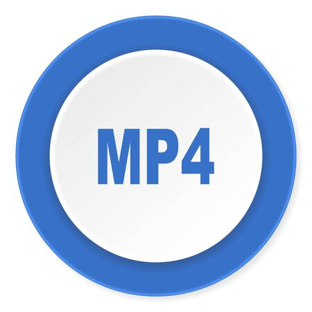 mp4: mp4 blue circle 3d modern design flat icon on white background Stock Photo