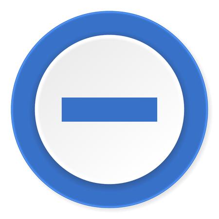 minus blue circle 3d modern design flat icon on white background