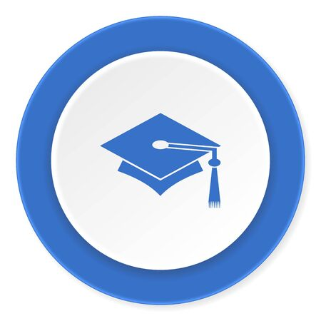 toga: education blue circle 3d modern design flat icon on white background Stock Photo