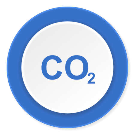 carbon dioxide: carbon dioxide blue circle 3d modern design flat icon on white background