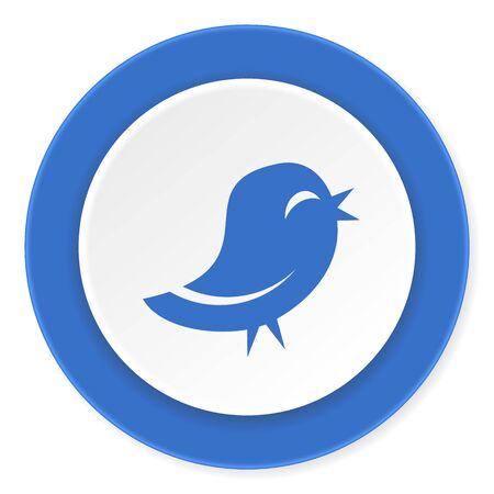 tweet icon: blue circle 3d modern design flat icon on white background Stock Photo