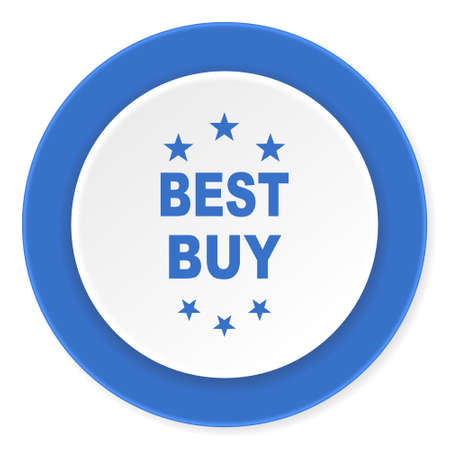 best buy: best buy blue circle 3d modern design flat icon on white background Stock Photo