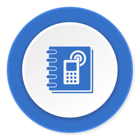 phonebook: phonebook blue circle 3d modern design flat icon on white background Stock Photo