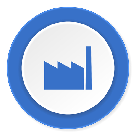 factory blue circle 3d modern design flat icon on white background