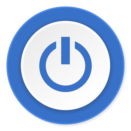 running off: power blue circle 3d modern design flat icon on white background Stock Photo