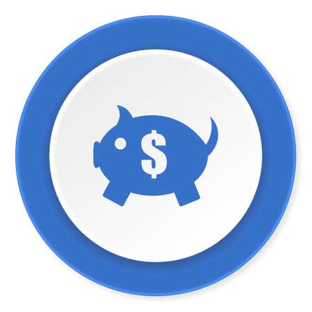 dollar symbol: piggy bank blue circle 3d modern design flat icon on white background