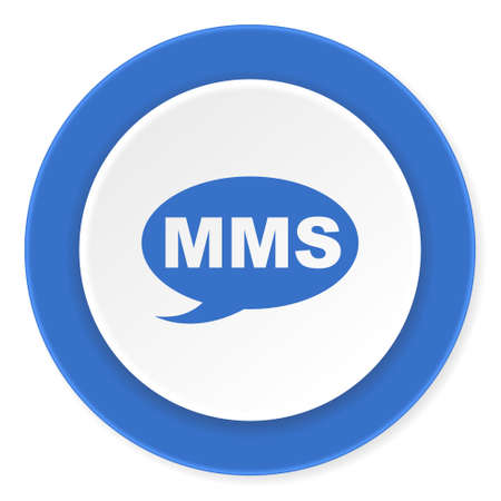 mms: mms blue circle 3d modern design flat icon on white background
