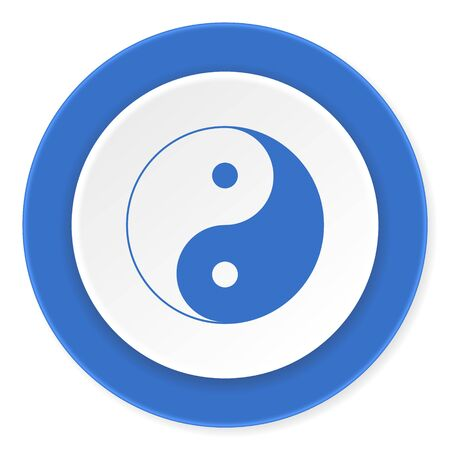 ying and yang: ying yang blue circle 3d modern design flat icon on white background Stock Photo