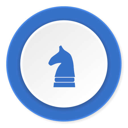 chess horse: chess horse blue circle 3d modern design flat icon on white background