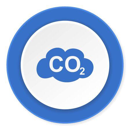 dioxide: carbon dioxide blue circle 3d modern design flat icon on white background