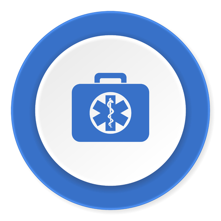 rescue circle: rescue kit blue circle 3d modern design flat icon on white background Stock Photo