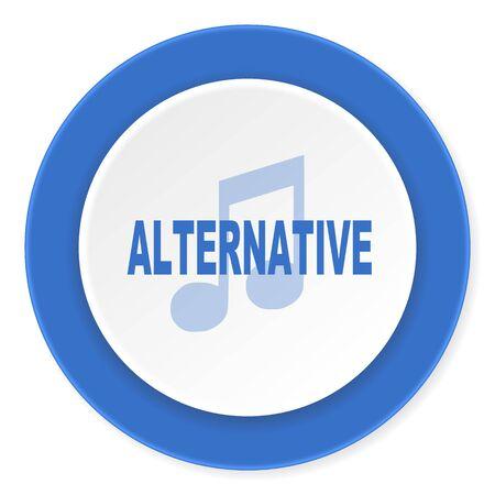 live stream radio: alternative music blue circle 3d modern design flat icon on white background