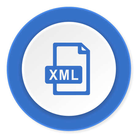 xml: xml file blue circle 3d modern design flat icon on white background