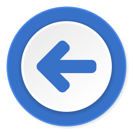 blue buttons: left arrow blue circle 3d modern design flat icon on white background