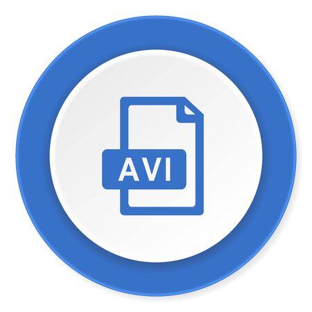 avi: avi file blue circle 3d modern design flat icon on white background